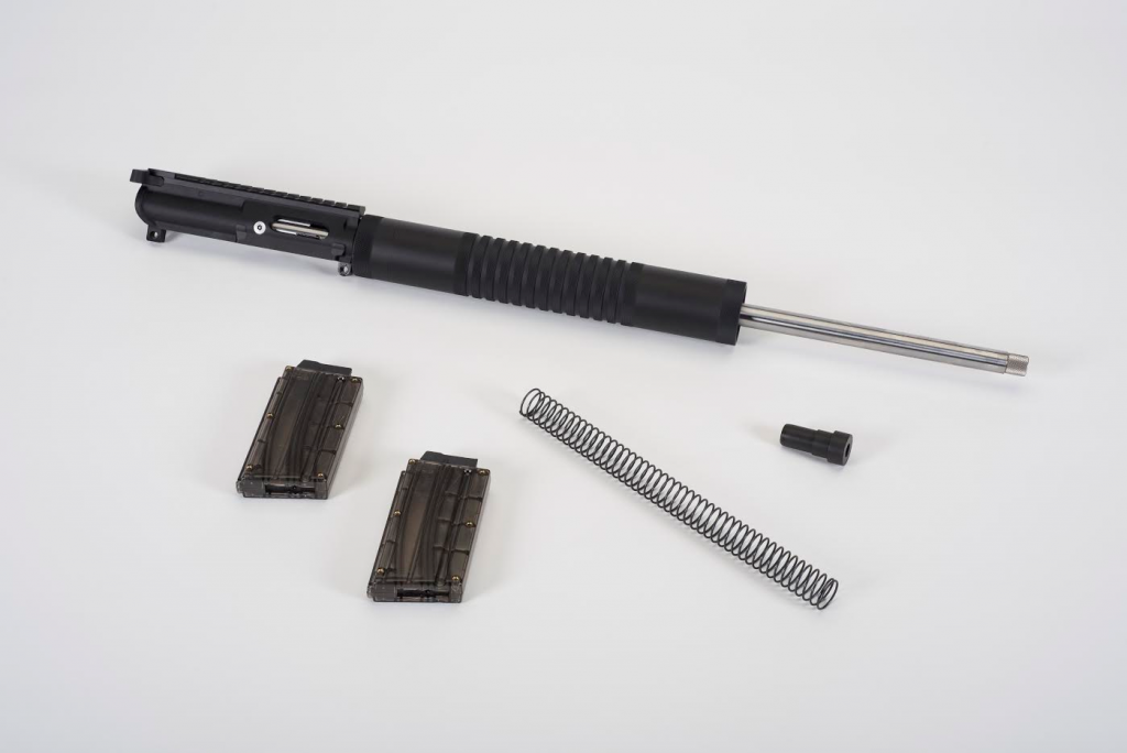 The Kit comes with everything you need to add to your completed AR lower, including 2 ten round magazines.