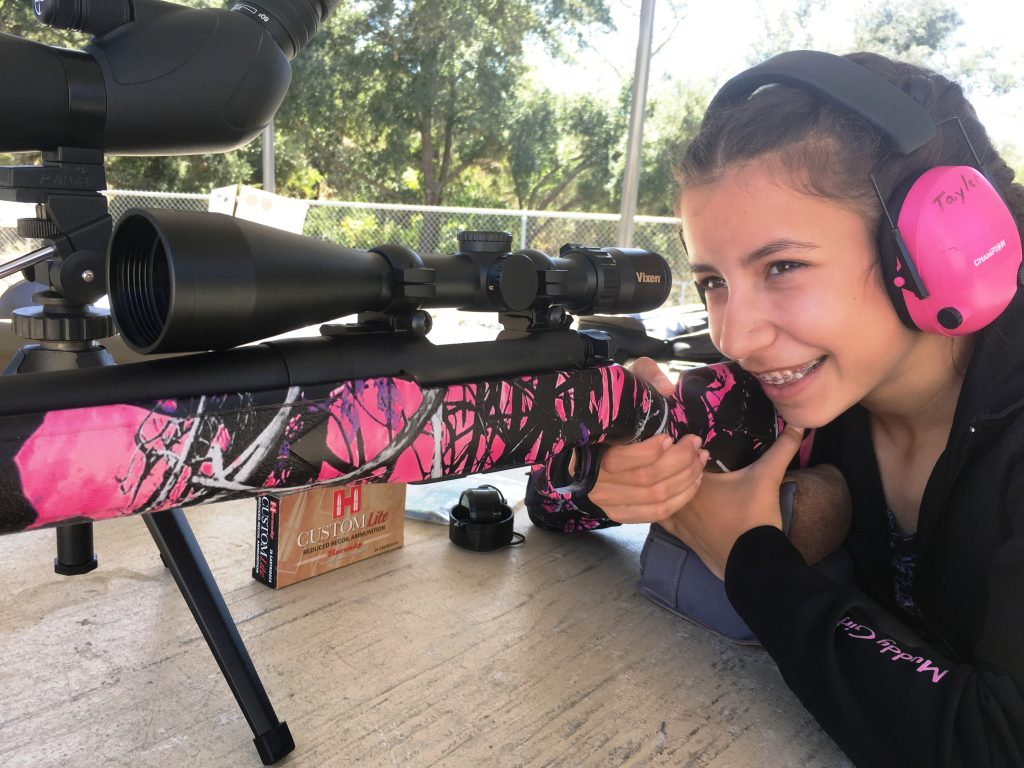 Tayler loves her Patriot in Muddy Girl Camo, especially when shooting Hornady Custom Lite ammo.